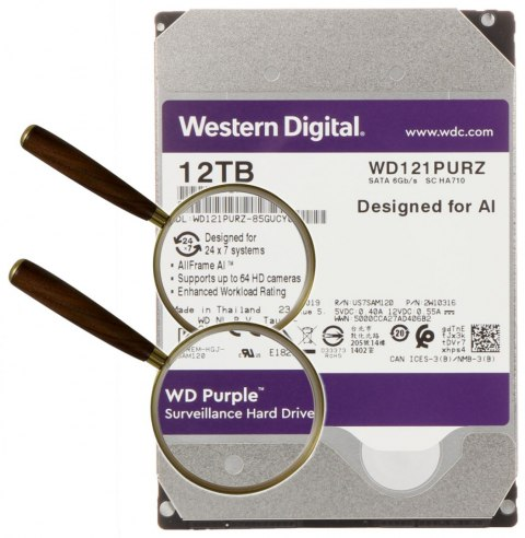 DYSK DO REJESTRATORA HDD-WD121PURZ 12TB 24/7 WESTERN DIGITAL