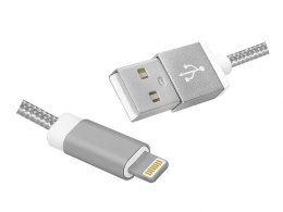 Kabel USB 2.0 lighting (M) 1m srebrny iPhone Apple